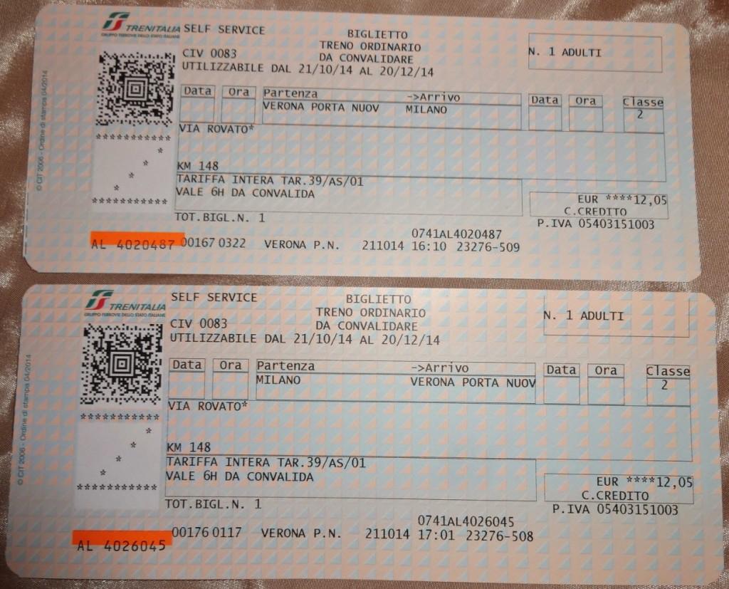 пример ж/д билета Италия