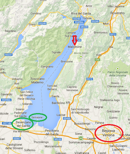 карта как добраться до озера гарда