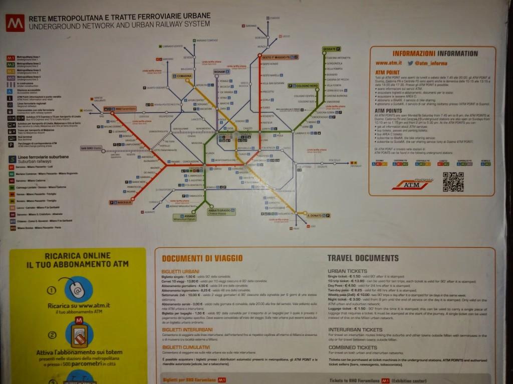 карта метро милан