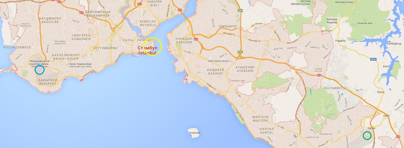 аэропорт сабиха в стамбуле на карте