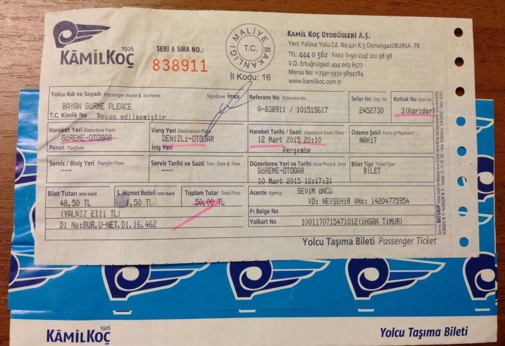 билет на автобус турция камилкос