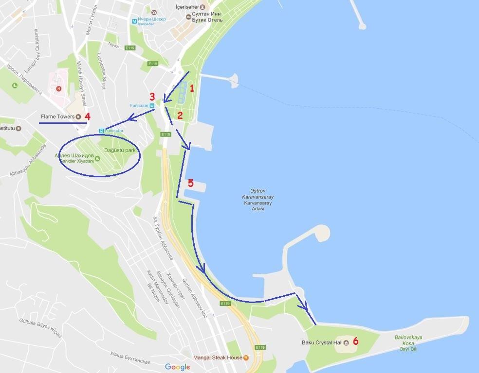 карта прогулка по набережной баку
