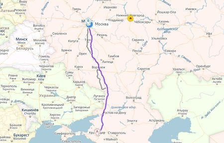 маршрут москва краснодар