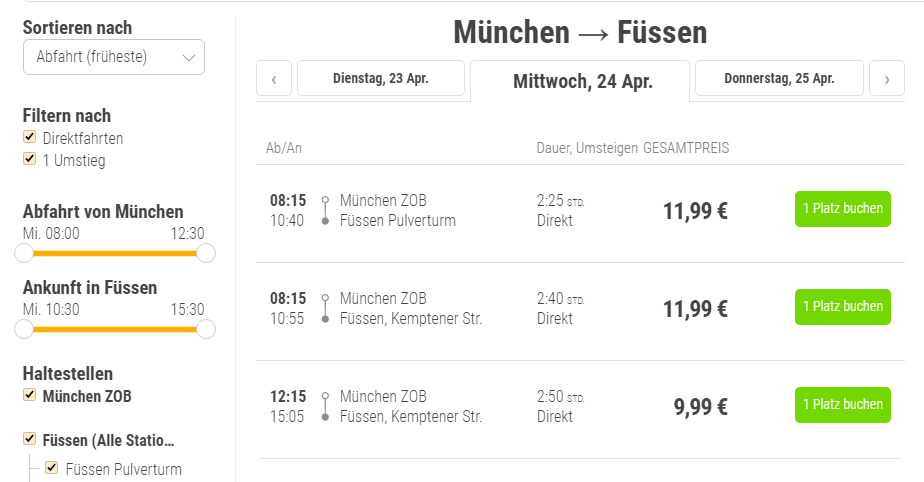 на автобусе из мюнхена в фюссен