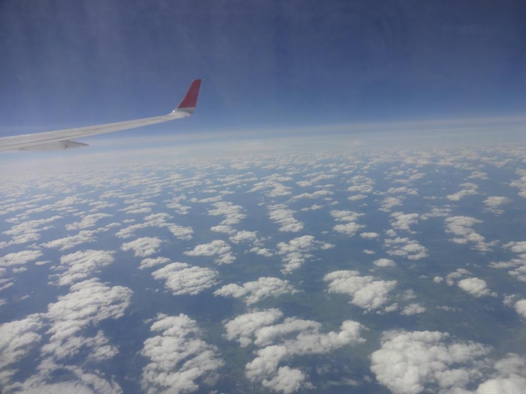 небо самолет облака