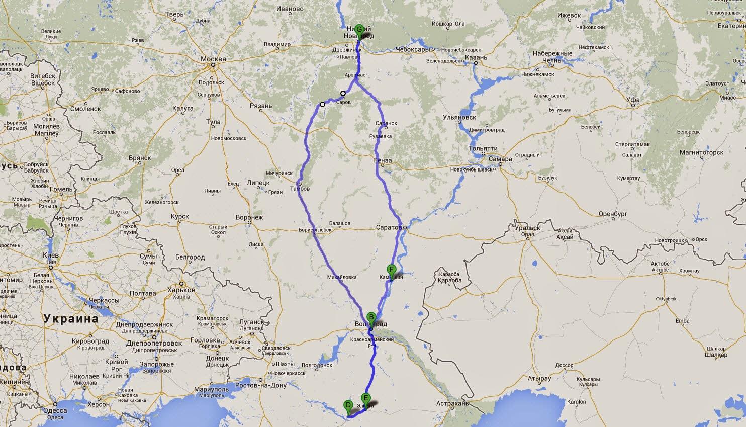 автопутешествие в калмыкию маршрут на карте