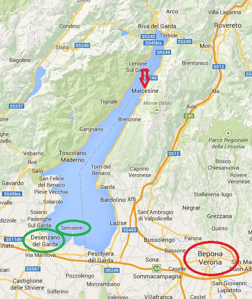 карта верона озеро гарда