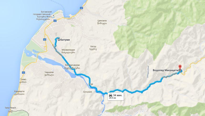 схема проезда к водопаду махунцете