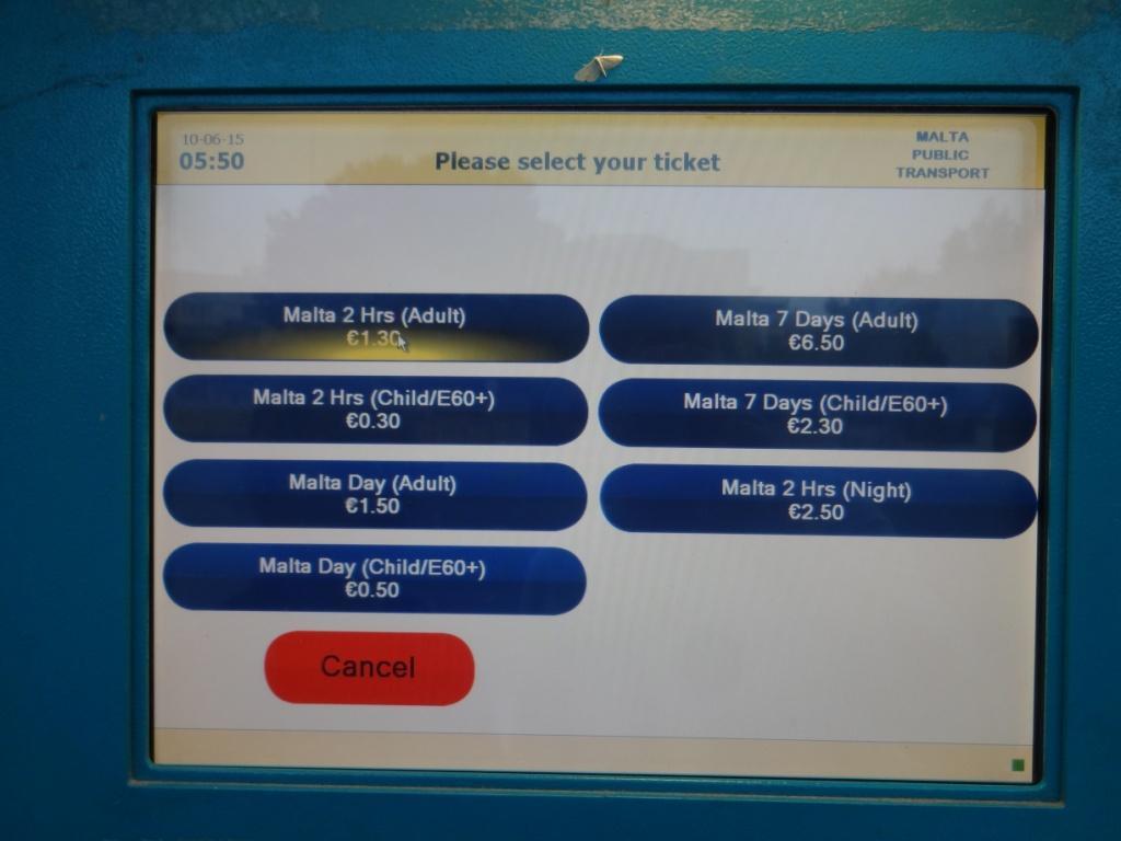 автомат по продаже билетов мальта
