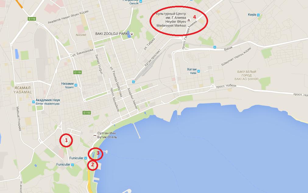 современные объекты в Баку на карте