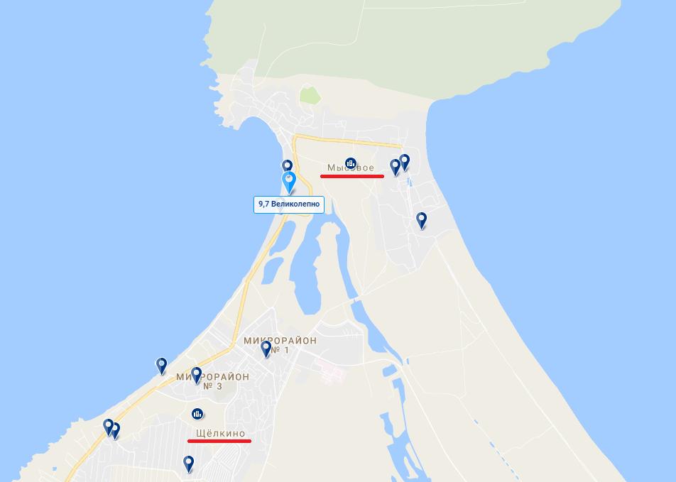 карта гостиниц Казантип