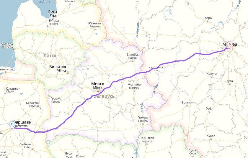 карта москва - варшава