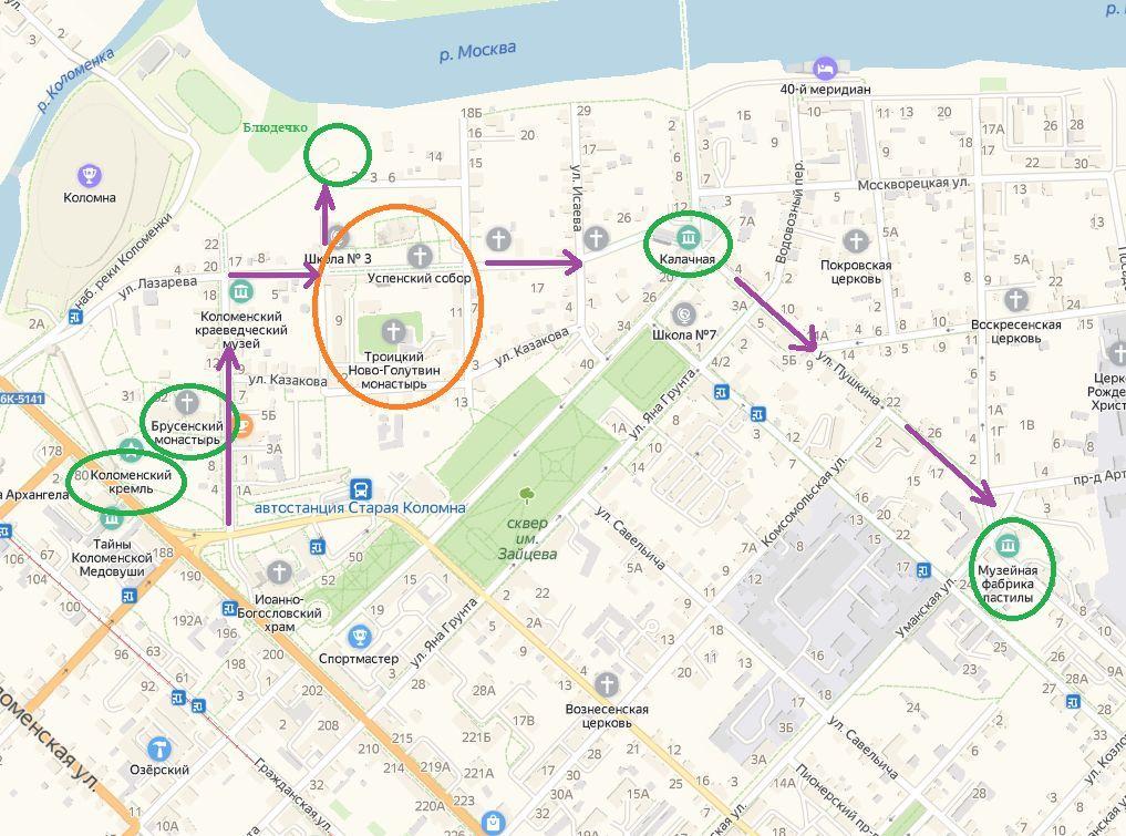 карта коломны для прогулки