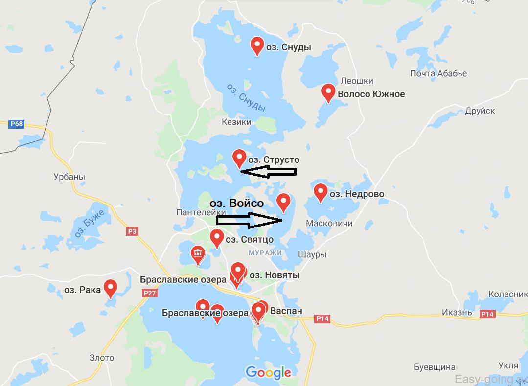 карта план браславских озер