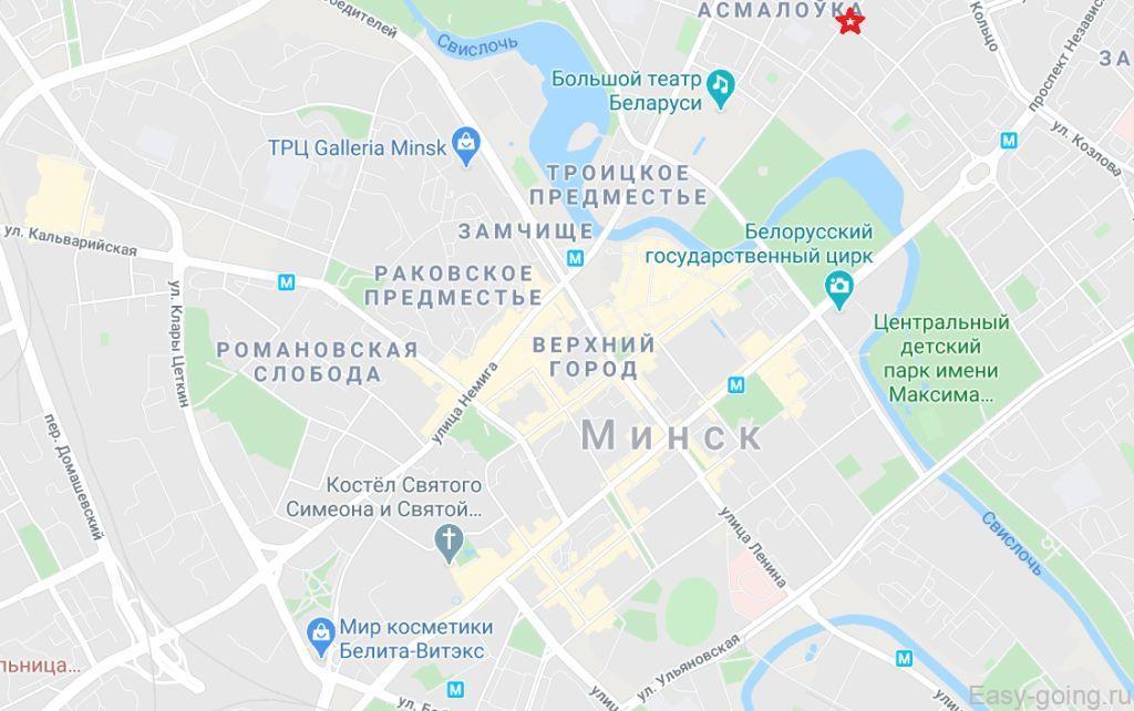 центр минска на карте