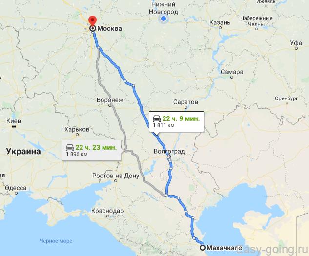 карта в дагестан на авто