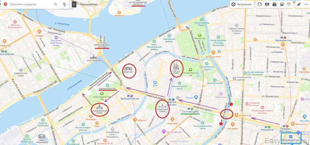 карта пешеходного маршрута по питеру